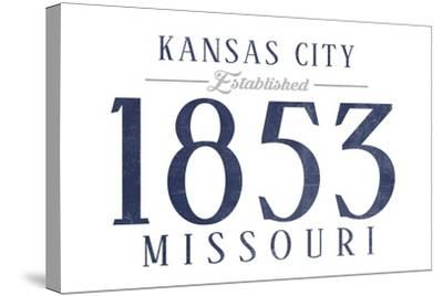 Kansas City, Missouri - Established Date (Blue)-Lantern Press-Stretched Canvas Print