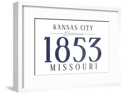 Kansas City, Missouri - Established Date (Blue)-Lantern Press-Framed Art Print