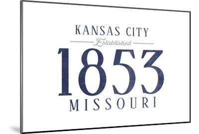 Kansas City, Missouri - Established Date (Blue)-Lantern Press-Mounted Art Print
