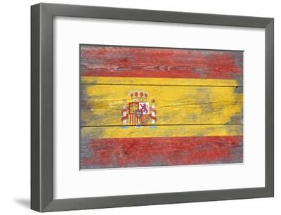Spain Country Flag - Barnwood Painting-Lantern Press-Framed Art Print