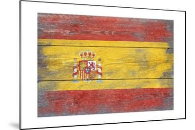Spain Country Flag - Barnwood Painting-Lantern Press-Mounted Art Print