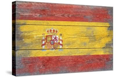 Spain Country Flag - Barnwood Painting-Lantern Press-Stretched Canvas Print