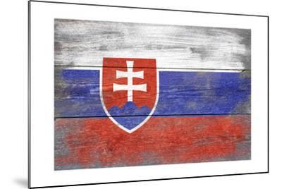 Slovakia Country Flag - Barnwood Painting-Lantern Press-Mounted Art Print