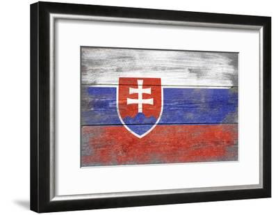 Slovakia Country Flag - Barnwood Painting-Lantern Press-Framed Art Print