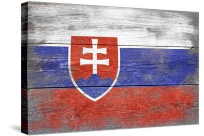Slovakia Country Flag - Barnwood Painting-Lantern Press-Stretched Canvas Print