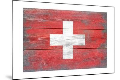 Switzerland Country Flag - Barnwood Painting-Lantern Press-Mounted Art Print