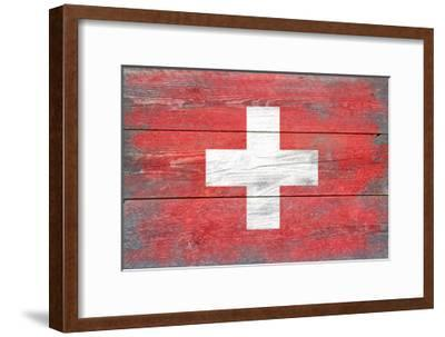 Switzerland Country Flag - Barnwood Painting-Lantern Press-Framed Art Print