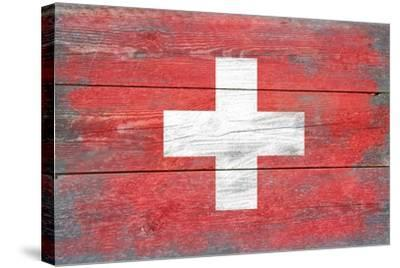 Switzerland Country Flag - Barnwood Painting-Lantern Press-Stretched Canvas Print