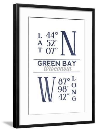Green Bay, Wisconsin - Latitude and Longitude (Blue)-Lantern Press-Framed Art Print