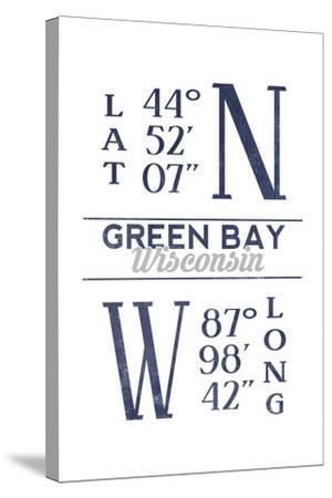 Green Bay, Wisconsin - Latitude and Longitude (Blue)-Lantern Press-Stretched Canvas Print