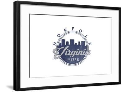 Norfolk, Virginia - Skyline Seal (Blue)-Lantern Press-Framed Art Print