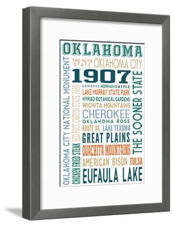 Oklahoma - Typography-Lantern Press-Framed Art Print