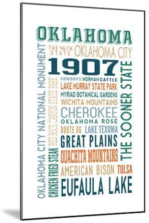 Oklahoma - Typography-Lantern Press-Mounted Art Print