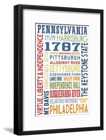 Pennsylvania - Typography-Lantern Press-Framed Art Print