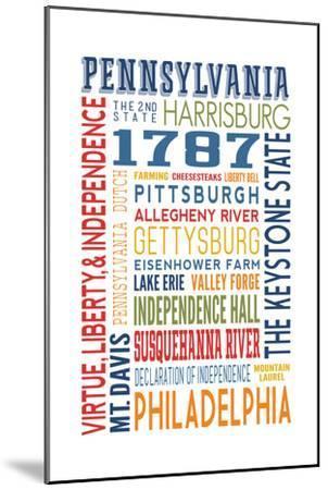 Pennsylvania - Typography-Lantern Press-Mounted Art Print