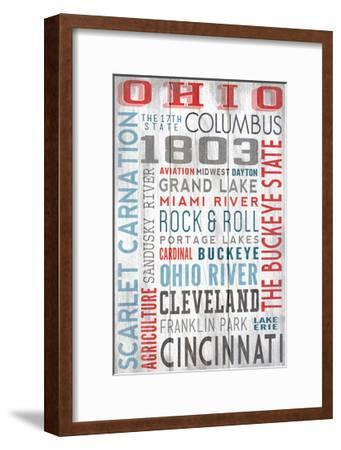 Ohio - Barnwood Typography-Lantern Press-Framed Art Print