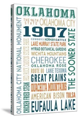 Oklahoma - Typography-Lantern Press-Stretched Canvas Print