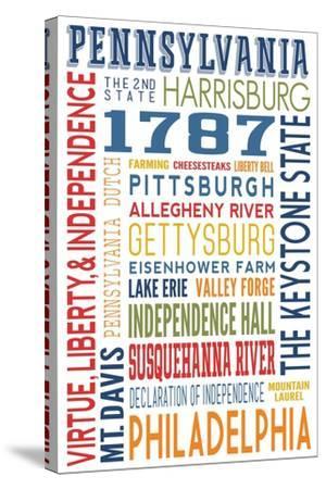 Pennsylvania - Typography-Lantern Press-Stretched Canvas Print