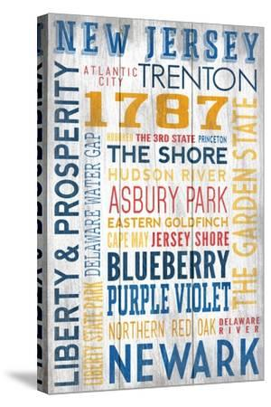 New Jersey - Barnwood Typography-Lantern Press-Stretched Canvas Print