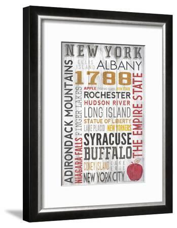 New York - Barnwood Typography-Lantern Press-Framed Art Print