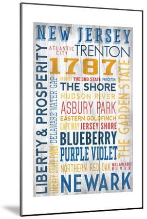 New Jersey - Barnwood Typography-Lantern Press-Mounted Art Print
