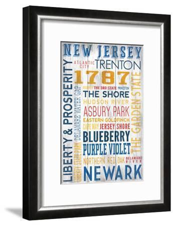 New Jersey - Barnwood Typography-Lantern Press-Framed Art Print