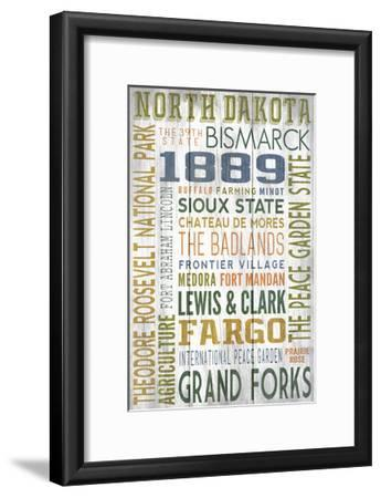 North Dakota - Barnwood Typography-Lantern Press-Framed Art Print
