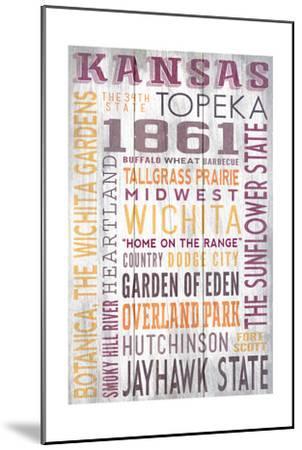Kansas - Barnwood Typography-Lantern Press-Mounted Art Print