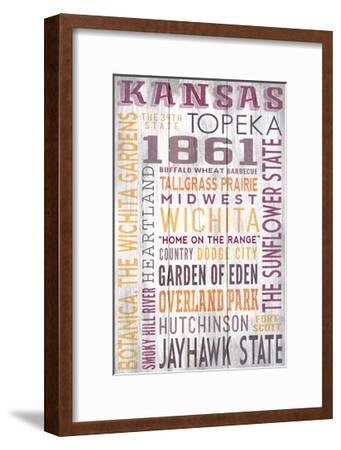 Kansas - Barnwood Typography-Lantern Press-Framed Art Print