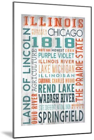 Illinois - Barnwood Typography-Lantern Press-Mounted Art Print