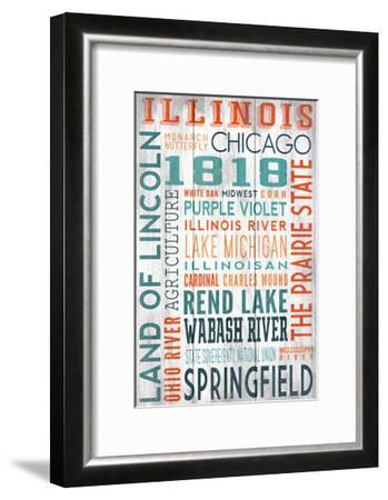 Illinois - Barnwood Typography-Lantern Press-Framed Art Print