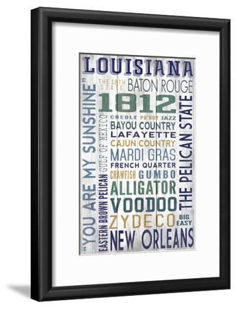 Louisiana - Barnwood Typography-Lantern Press-Framed Art Print