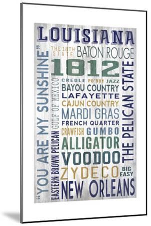 Louisiana - Barnwood Typography-Lantern Press-Mounted Art Print