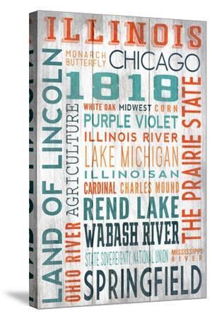 Illinois - Barnwood Typography-Lantern Press-Stretched Canvas Print