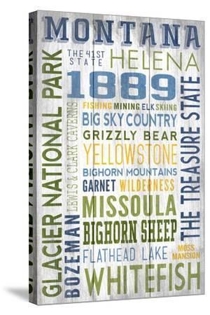 Montana - Barnwood Typography-Lantern Press-Stretched Canvas Print