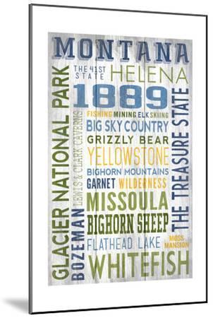 Montana - Barnwood Typography-Lantern Press-Mounted Art Print