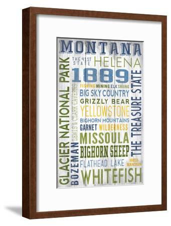 Montana - Barnwood Typography-Lantern Press-Framed Art Print