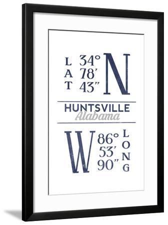 Huntsville, Alabama - Latitude and Longitude (Blue)-Lantern Press-Framed Art Print