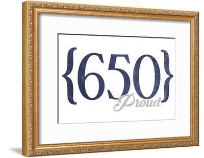 San Francisco, California - 650 Area Code (Blue)-Lantern Press-Framed Art Print