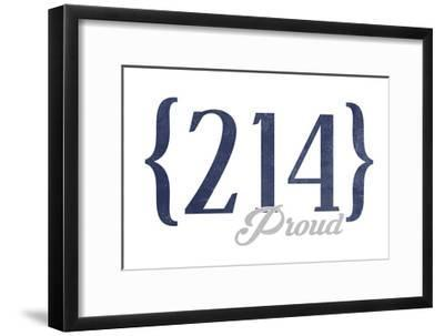 Grand Prairie, Texas - 214 Area Code (Blue)-Lantern Press-Framed Art Print