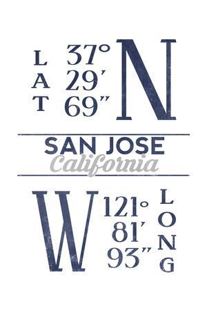 San Jose, California - Latitude and Longitude (Blue)-Lantern Press-Framed Art Print