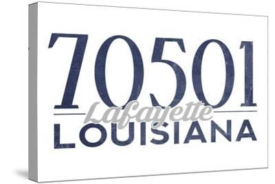 Lafayette, Louisiana - 70501 Zip Code(Blue)-Lantern Press-Stretched Canvas Print