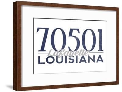 Lafayette, Louisiana - 70501 Zip Code(Blue)-Lantern Press-Framed Art Print