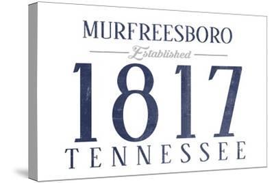 Murfreesboro, Tennessee - Established Date (Blue)-Lantern Press-Stretched Canvas Print