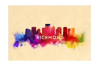 Richmond, Virginia - Skyline Abstract-Lantern Press-Framed Art Print