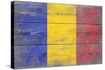 Romania Country Flag - Barnwood Painting-Lantern Press-Stretched Canvas Print