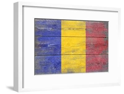 Romania Country Flag - Barnwood Painting-Lantern Press-Framed Art Print