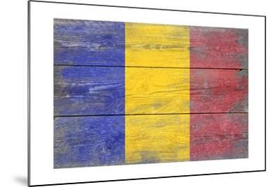Romania Country Flag - Barnwood Painting-Lantern Press-Mounted Art Print