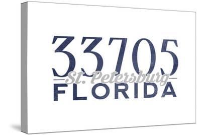 St. Petersburg, Florida - 33705 Zip Code (Blue)-Lantern Press-Stretched Canvas Print