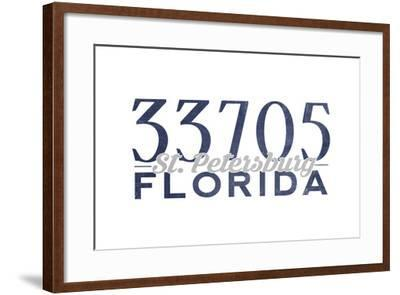 St. Petersburg, Florida - 33705 Zip Code (Blue)-Lantern Press-Framed Art Print